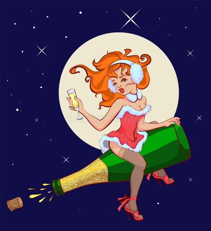 A mulher 'sexy' está voando em uma garrafa do champanhe ilustração stock
