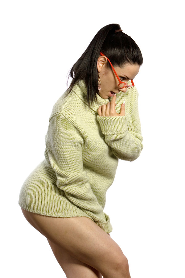 Mulher 'sexy' na camisola fotografia de stock royalty free