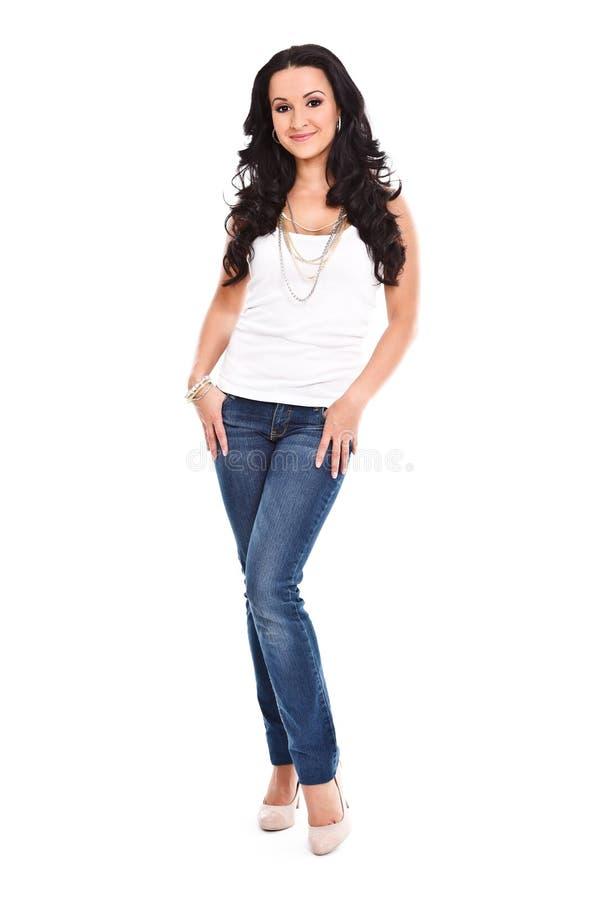 Mulher 'sexy' nas calças de brim imagens de stock