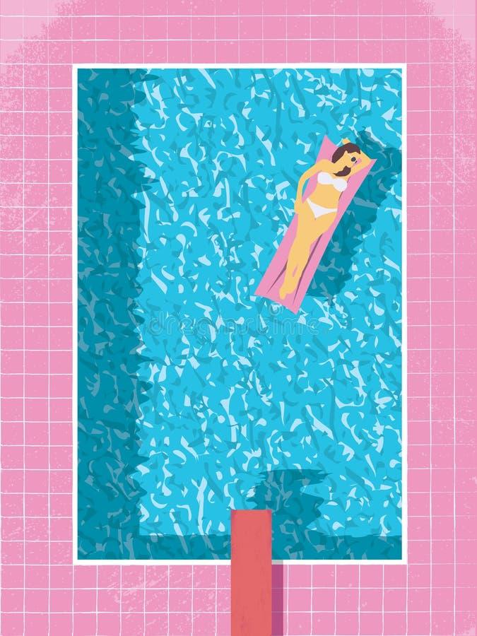 Mulher 'sexy' no biquini na ilustração do vetor da piscina Estilo retro moderno do vintage 80s ilustração stock