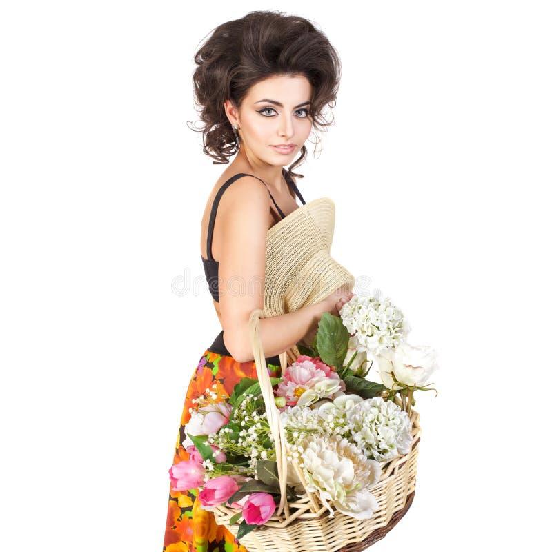 Mulher 'sexy' no estilo retro isolada no branco imagens de stock royalty free