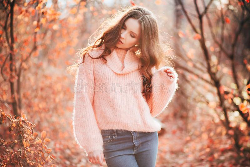 Mulher 'sexy' nova na floresta do outono foto de stock
