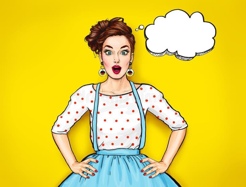 Mulher 'sexy' nova surpreendida com boca aberta Mulher cômica Menina da bisbolhetice Mulheres surpreendidas Menina do pop art ilustração stock