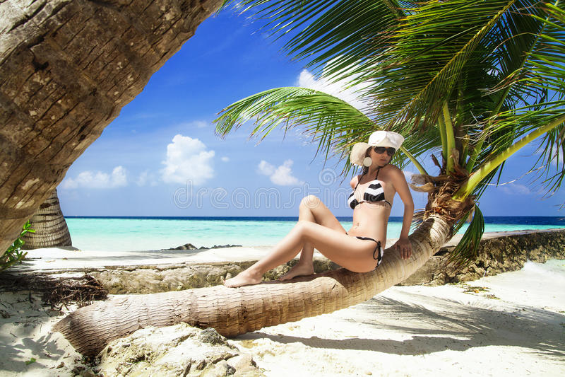 Mulher shapely bonita na praia tropical fotografia de stock royalty free