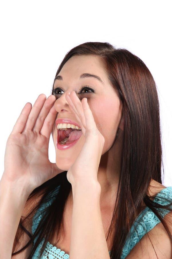 Mulher Shouting bonita imagens de stock royalty free