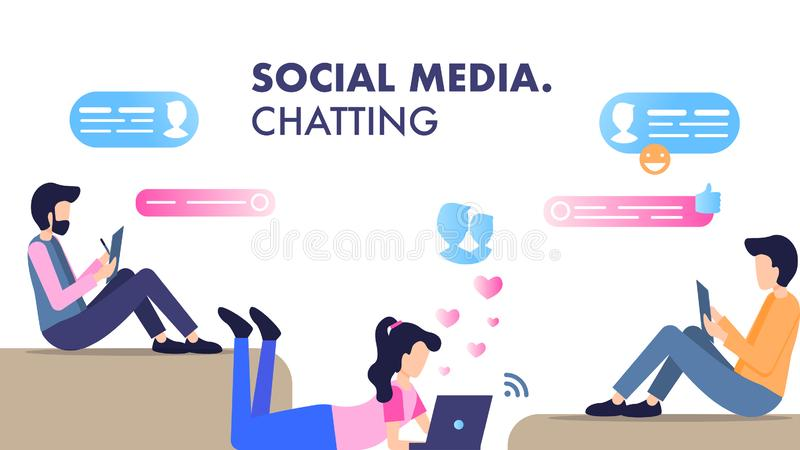 Mulher Sit Lay Use Smartphone Chatting do homem novo ilustração stock