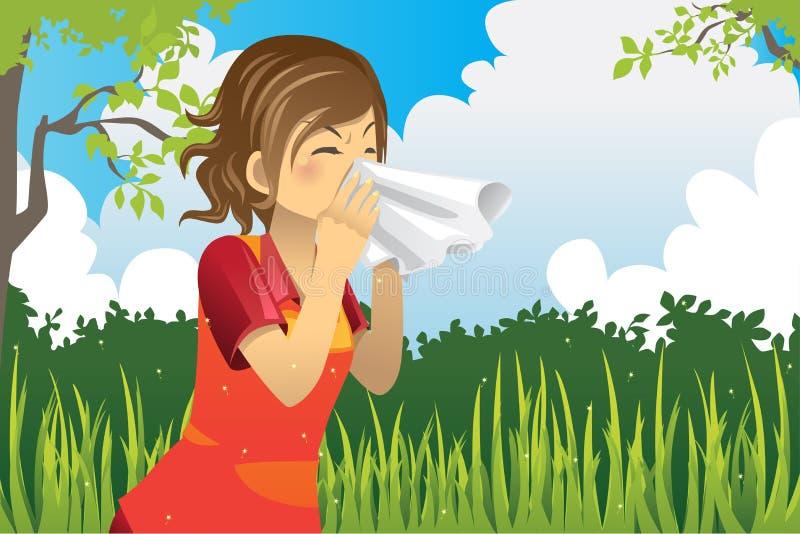 Mulher Sneezing ilustração stock