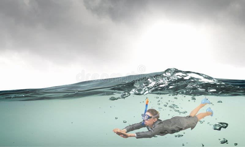 Mulher sob a água Meios mistos imagens de stock royalty free