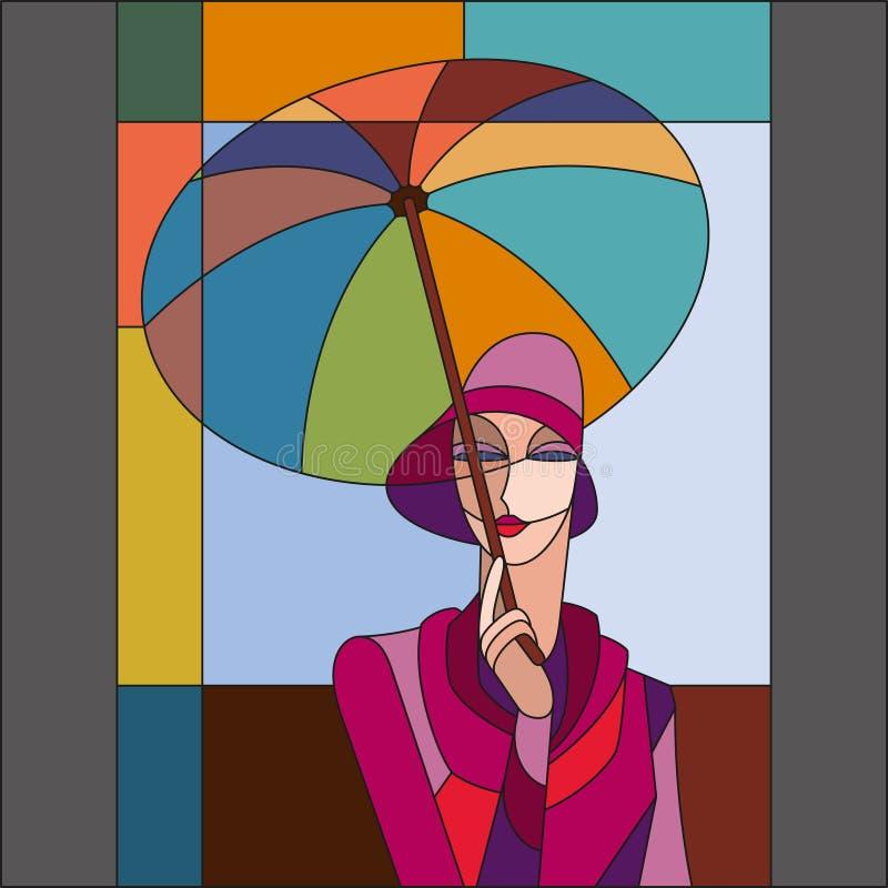 Mulher sob o teste padrão do guarda-chuva Teste padrão do vitral do art deco ilustração do vetor