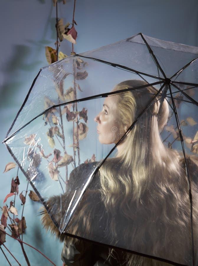 Mulher sob um guarda-chuva transparente com folhas de outono fotografia de stock