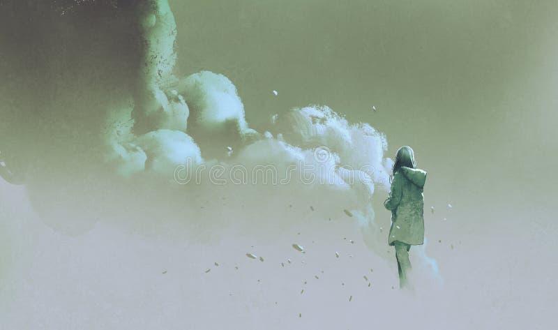 Mulher sozinha que está na frente do fumo ilustração do vetor