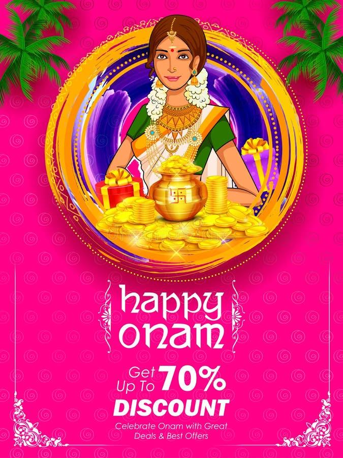 Mulher sul de Keralite do indiano na propaganda e fundo da promoção para o festival feliz de Onam da Índia sul Kerala ilustração do vetor