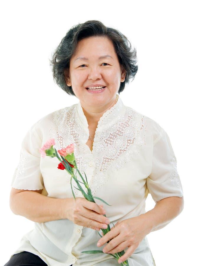 Mulher superior asiática imagens de stock