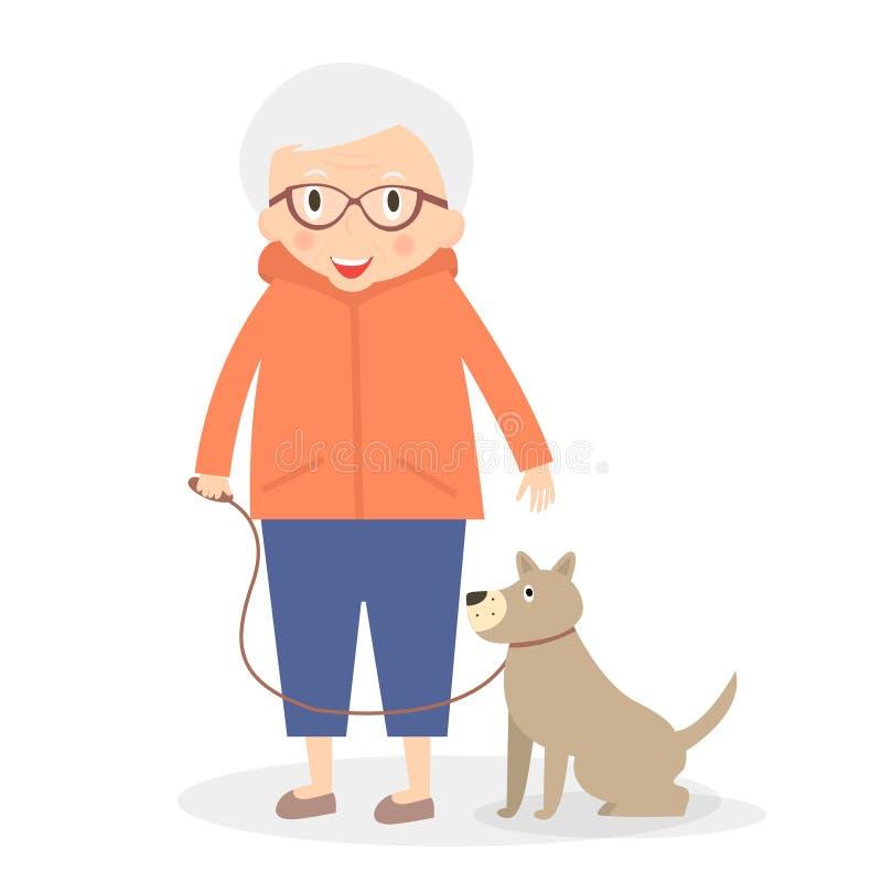 Mulher superior bonito com o cão na caminhada Avó na roupa do esporte Ilustração do vetor ilustração royalty free