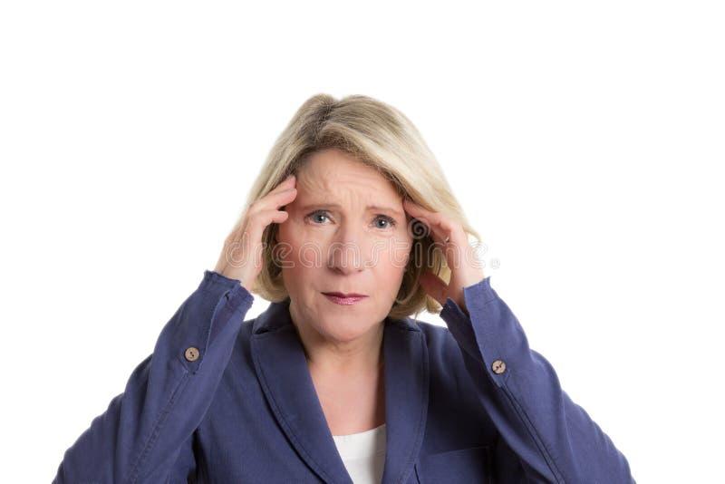 Mulher superior com dor de cabeça fotos de stock royalty free