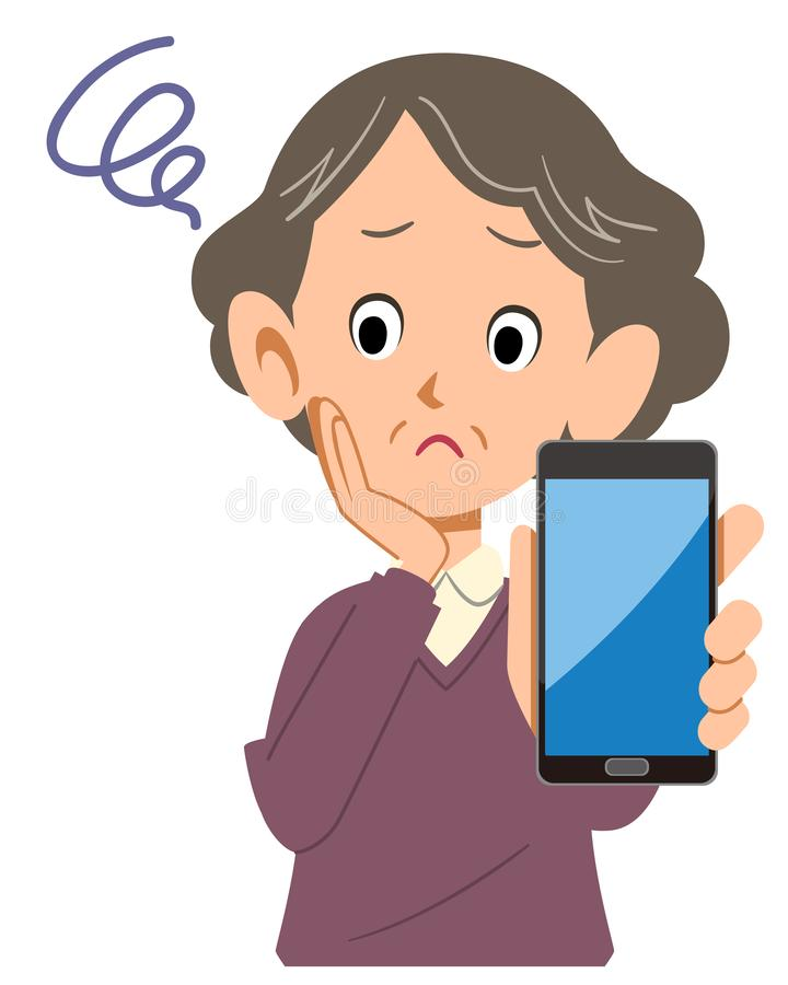 Mulher superior incomodada com smartphone ilustração do vetor