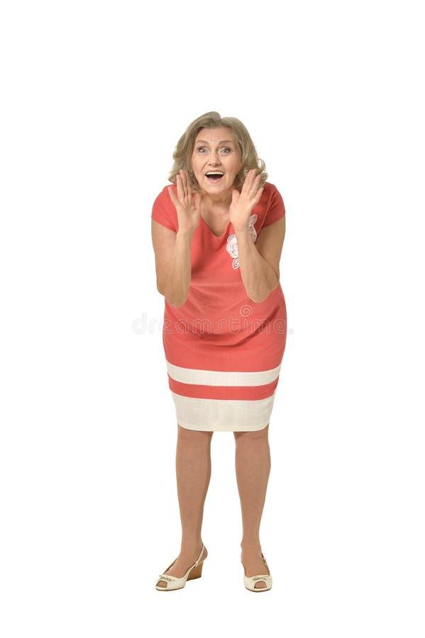 Mulher superior no vestido brilhante imagens de stock