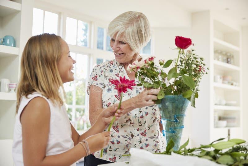 Mulher superior que arranja flores com neta em casa fotos de stock