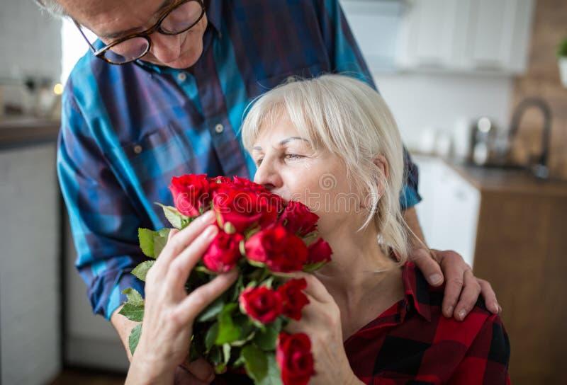Mulher superior que guarda o grupo das rosas de seu marido fotografia de stock royalty free