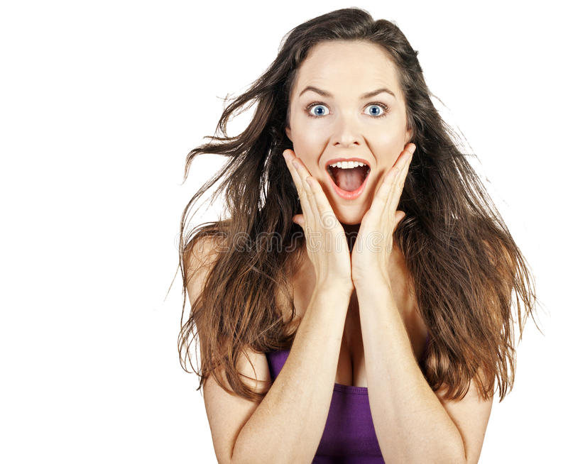 Mulher surpreendida bonita nova imagem de stock
