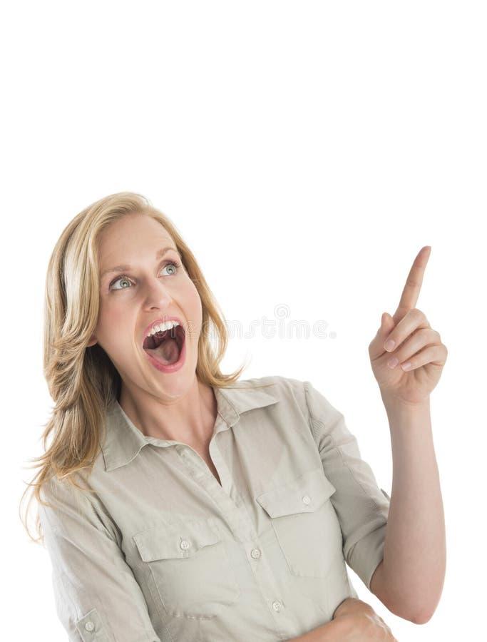 Mulher surpreendida com gesticular aberto da boca imagens de stock
