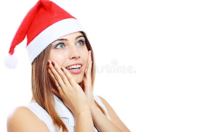 Mulher surpreendida do Natal fotografia de stock royalty free