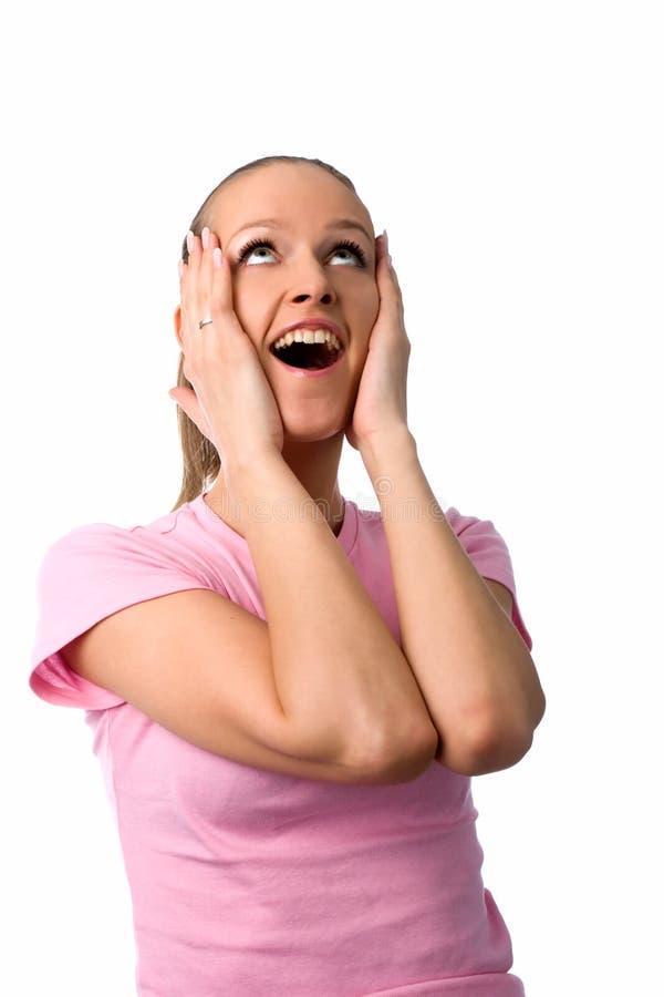 Mulher surpreendida feliz foto de stock