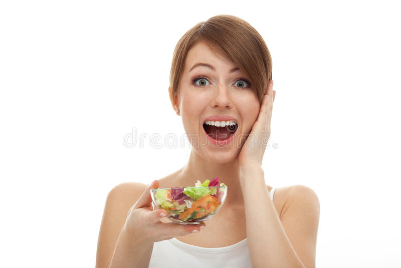 Mulher surpreendida na dieta fotos de stock