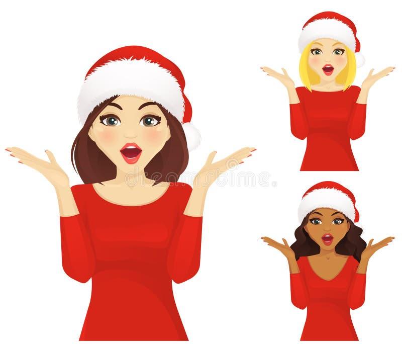 Mulher surpreendida no chapéu de Santa do Natal ilustração do vetor