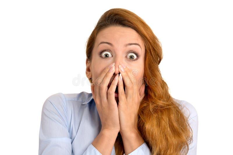 Mulher surpreendida surpresa fundida ausente foto de stock