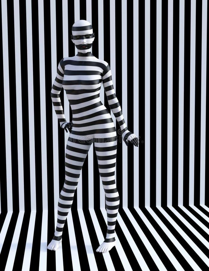 Mulher surreal da zebra, listras, menina ilustração royalty free