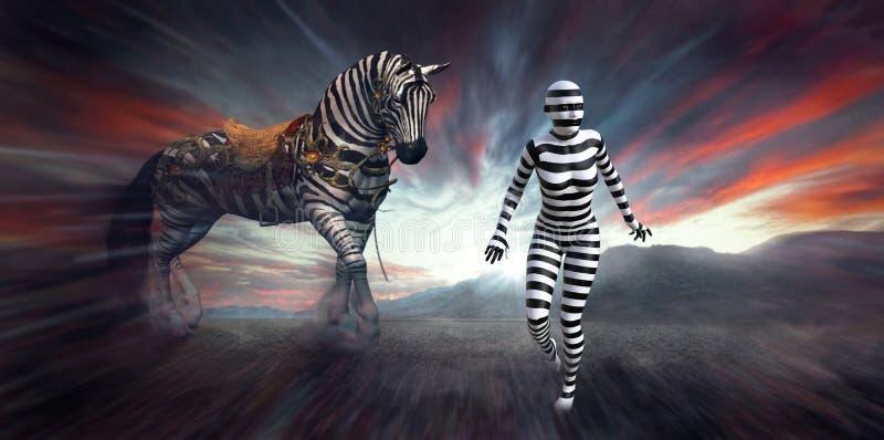 Mulher surreal da zebra, Wilflife, listras ilustração royalty free