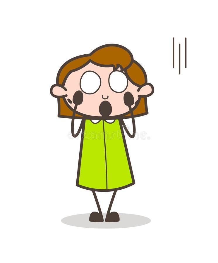 Mulher temível que grita no vetor do medo ilustração do vetor