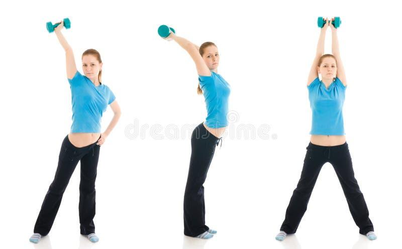 A mulher três nova que faz o exercício isolado imagem de stock