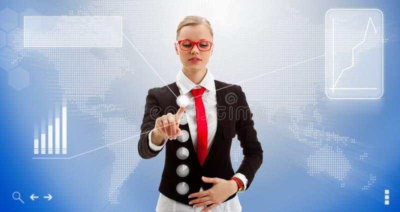 A mulher trabalha com a relação do futuro foto de stock