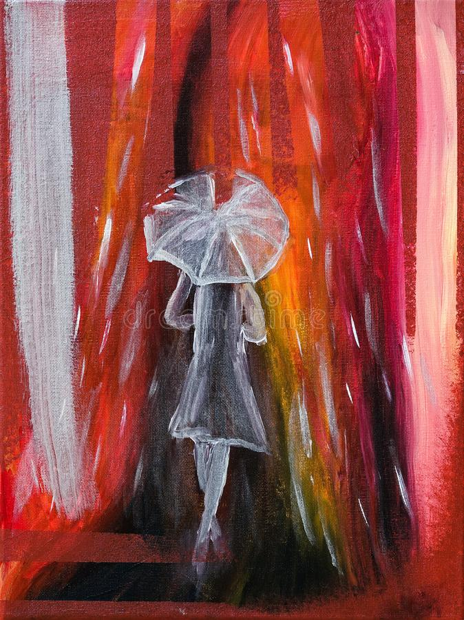 Mulher transparente com um vestido/capa de chuva, na chuva com guarda-chuva ilustração royalty free