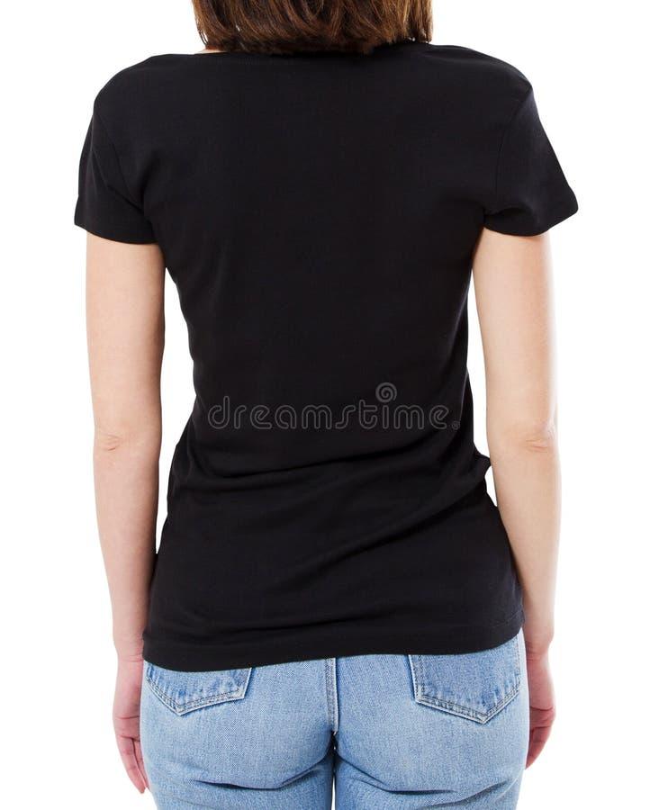 Mulher traseira da vista no t-shirt preto no fundo branco, vazio fotos de stock