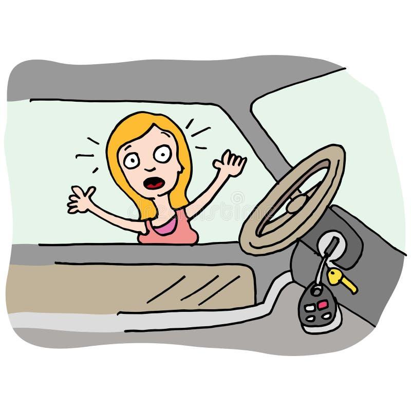 A mulher trava suas chaves no carro ilustração royalty free
