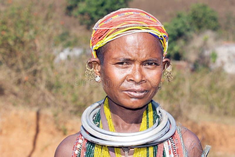 Mulher tribal idosa de Bonda imagens de stock