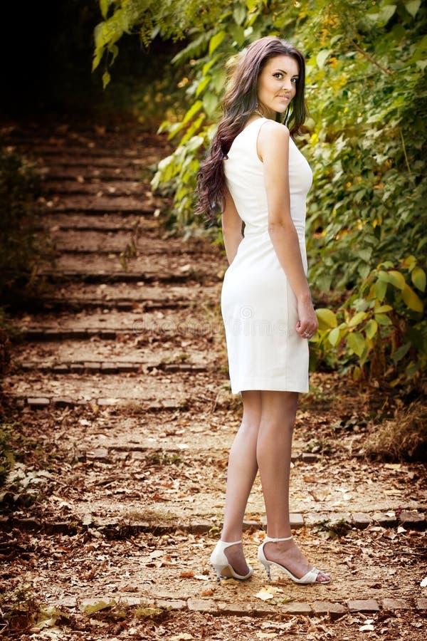 Mulher triguenha com corpo 'sexy' e o vestido elegante fotografia de stock