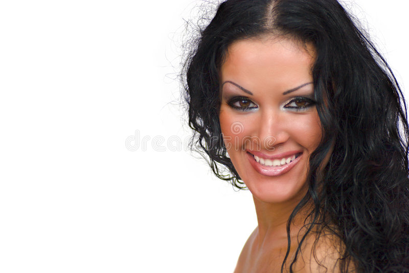 Mulher triguenha feliz foto de stock royalty free