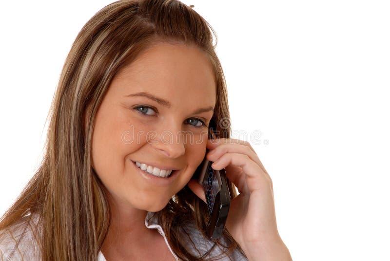 Mulher triguenha no telefone 16 imagem de stock royalty free