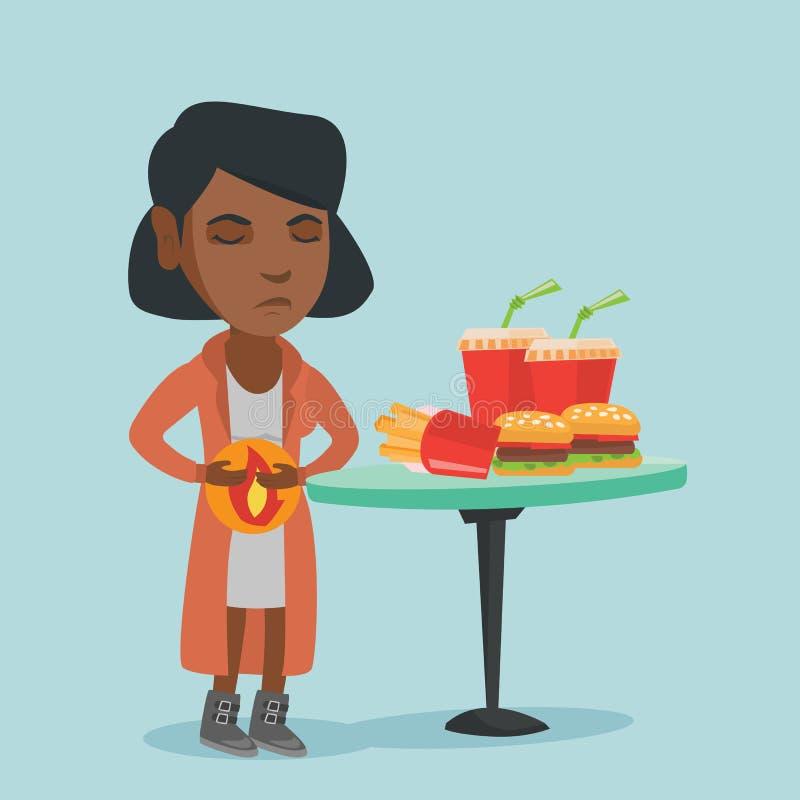 Mulher triste africana nova que sofre da azia ilustração do vetor