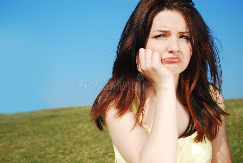 Mulher triste ao ar livre imagens de stock royalty free