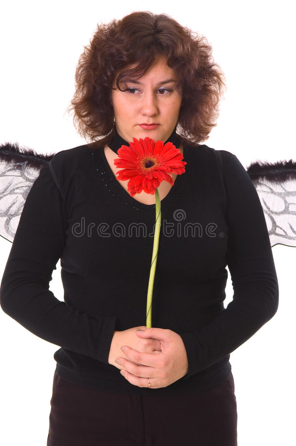 Mulher triste com margarida fotografia de stock royalty free