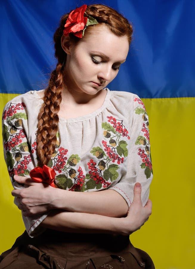 Mulher ucraniana desapontado foto de stock