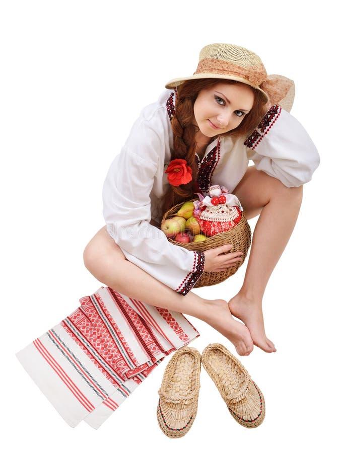 Mulher ucraniana feliz com amuletos fotografia de stock