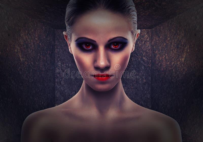 Mulher uma bruxa, mal. Halloween foto de stock