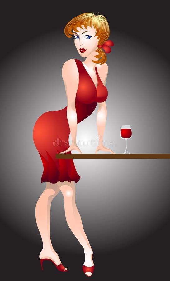 Mulher vermelha ilustração do vetor