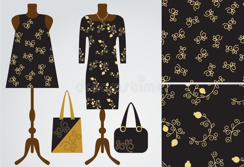 A mulher veste o boutique à moda moderno, loja Ilustração do vetor Dois testes padrões florais sem emenda da romã com seu exemplo ilustração stock